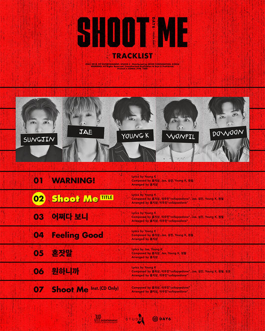 Day6 Releases Track List For Comeback Album Shoot Me Youth Part 1